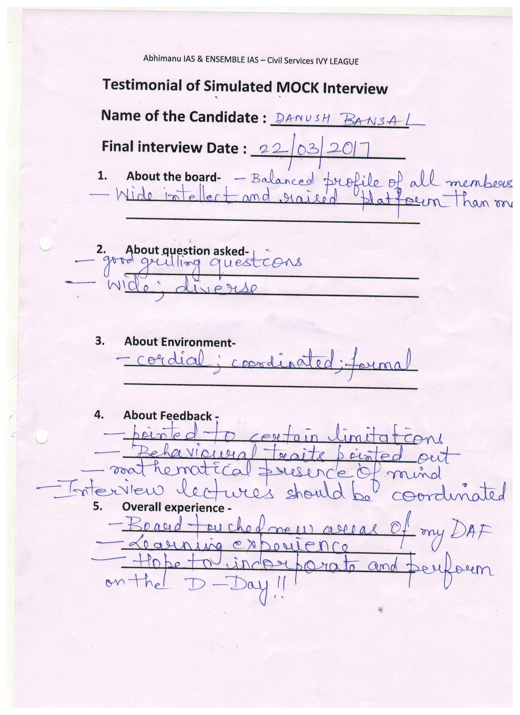 Interview Testimonial By- Dhanush Bansal
