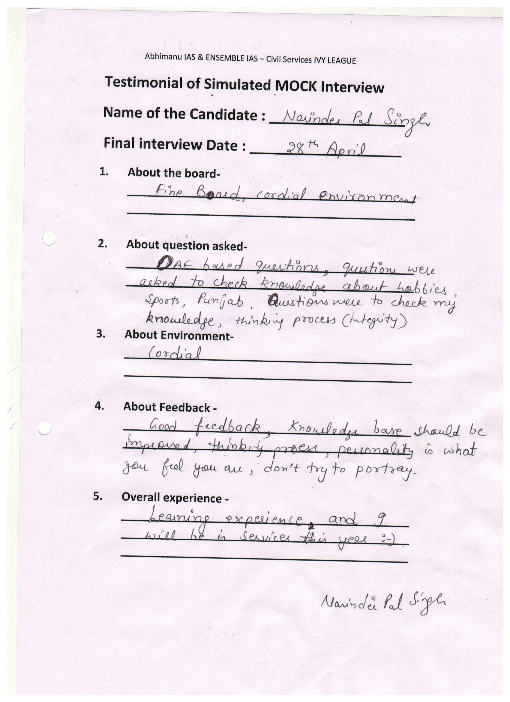 Interview Testimonial By- Narinder Pal Singh