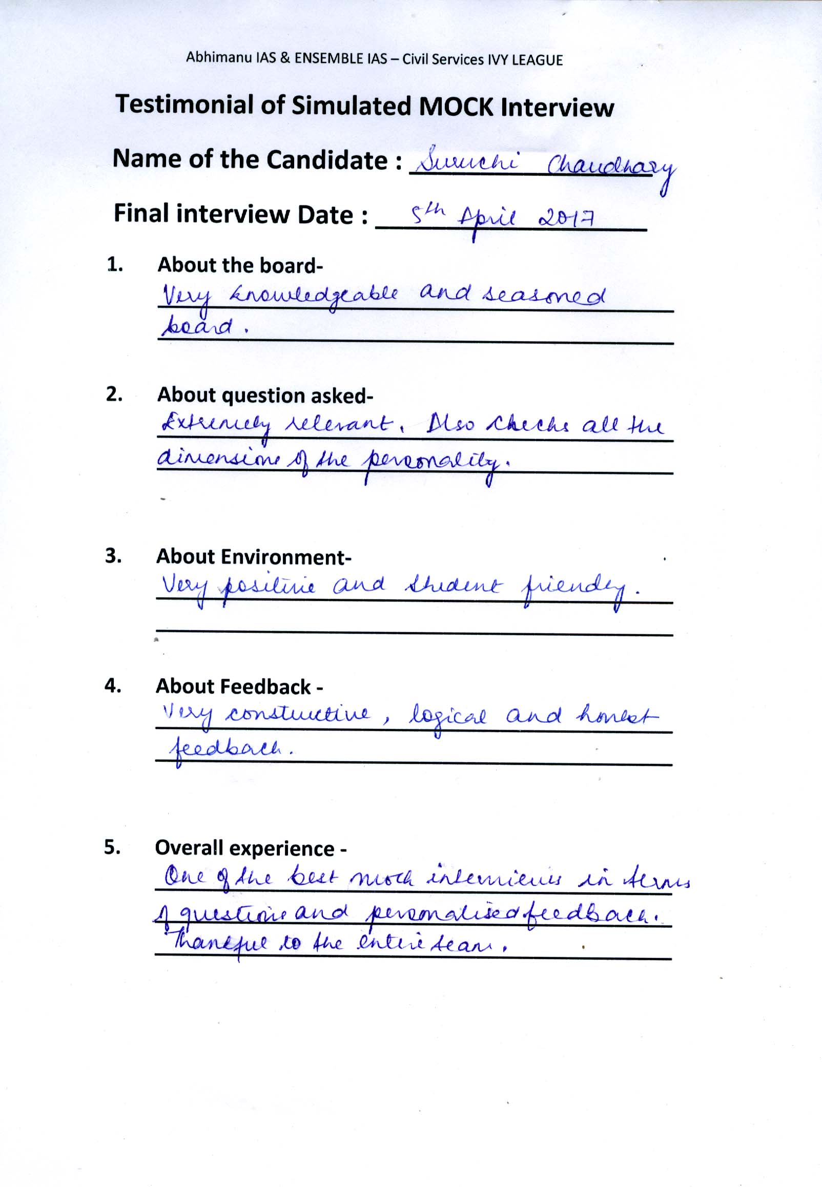 Interview Testimonial By- Suruchi