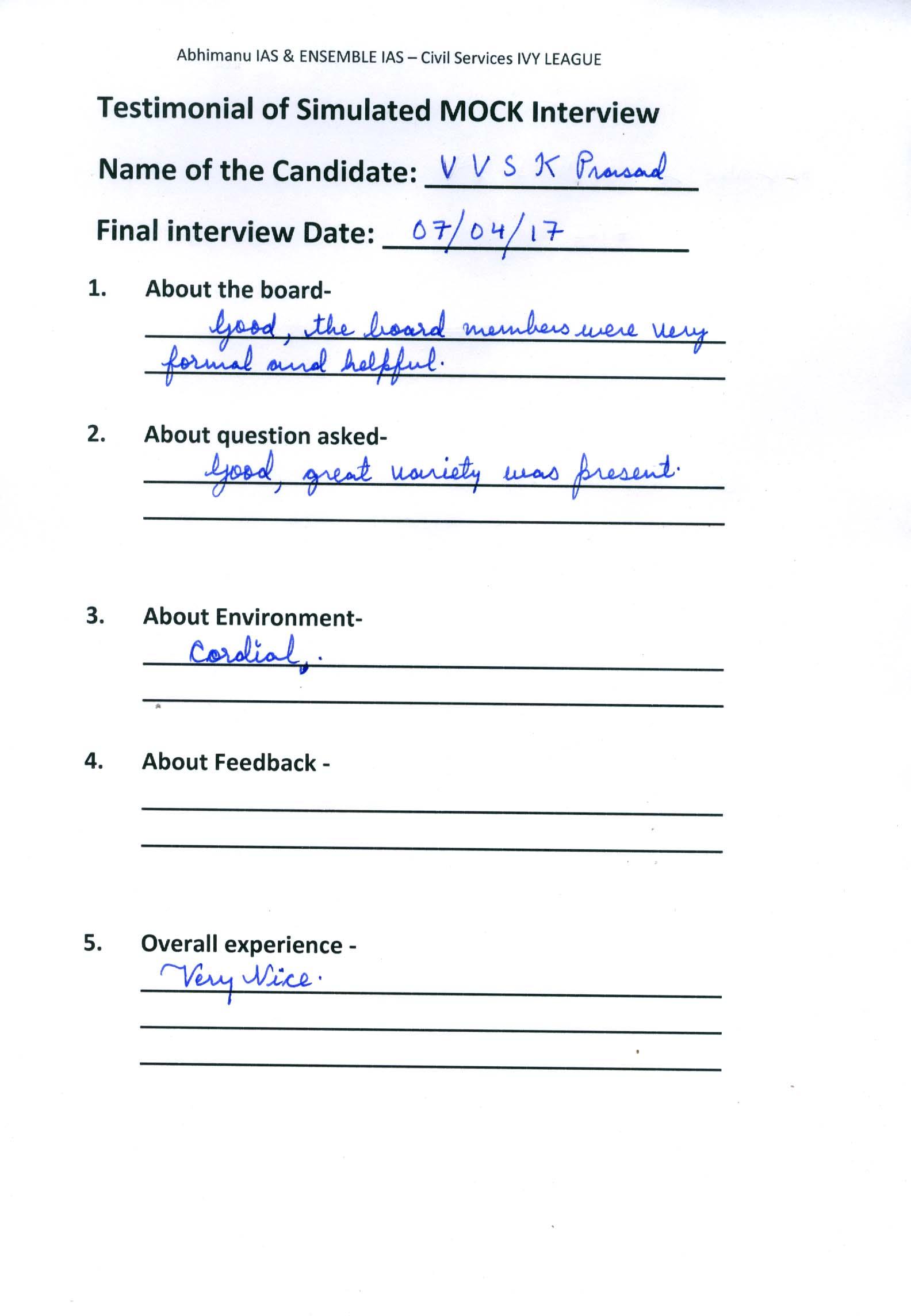 Interview Testimonial By- V V K SK Prashad