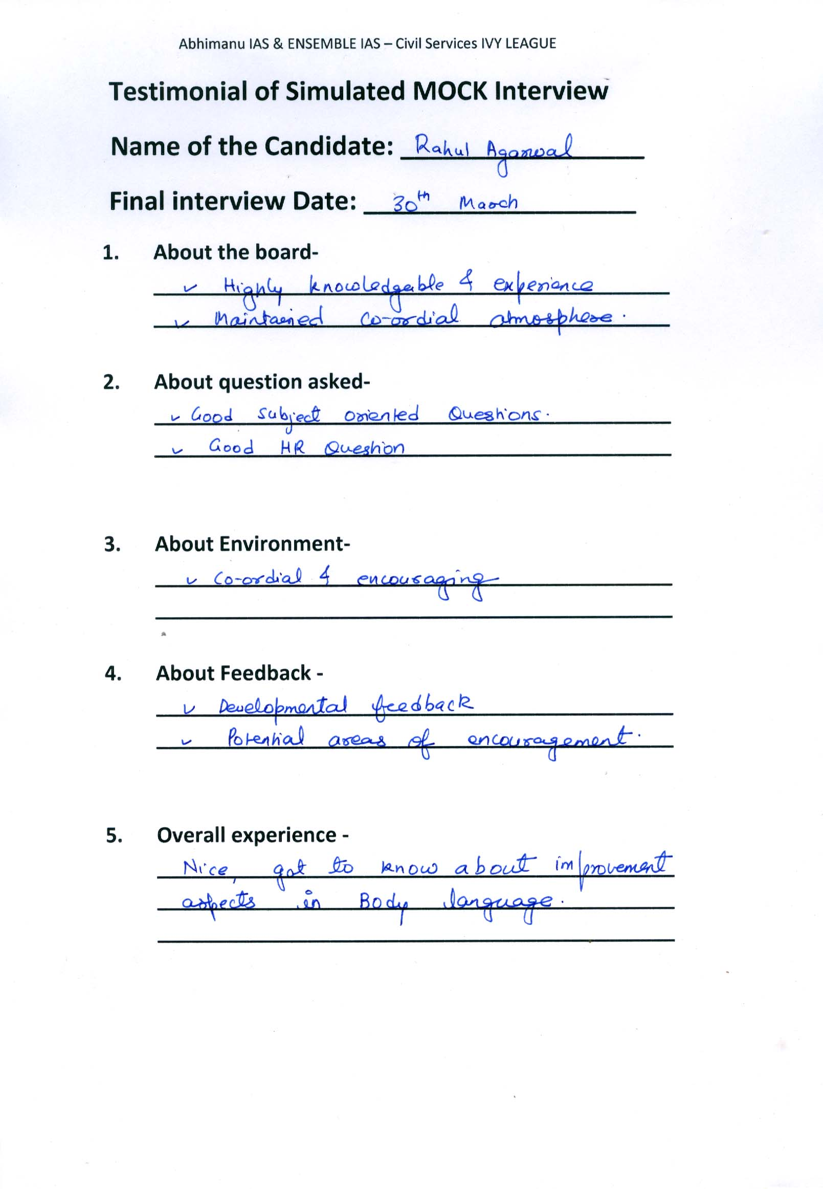 Interview Testimonial By- Rahul Aggarwal