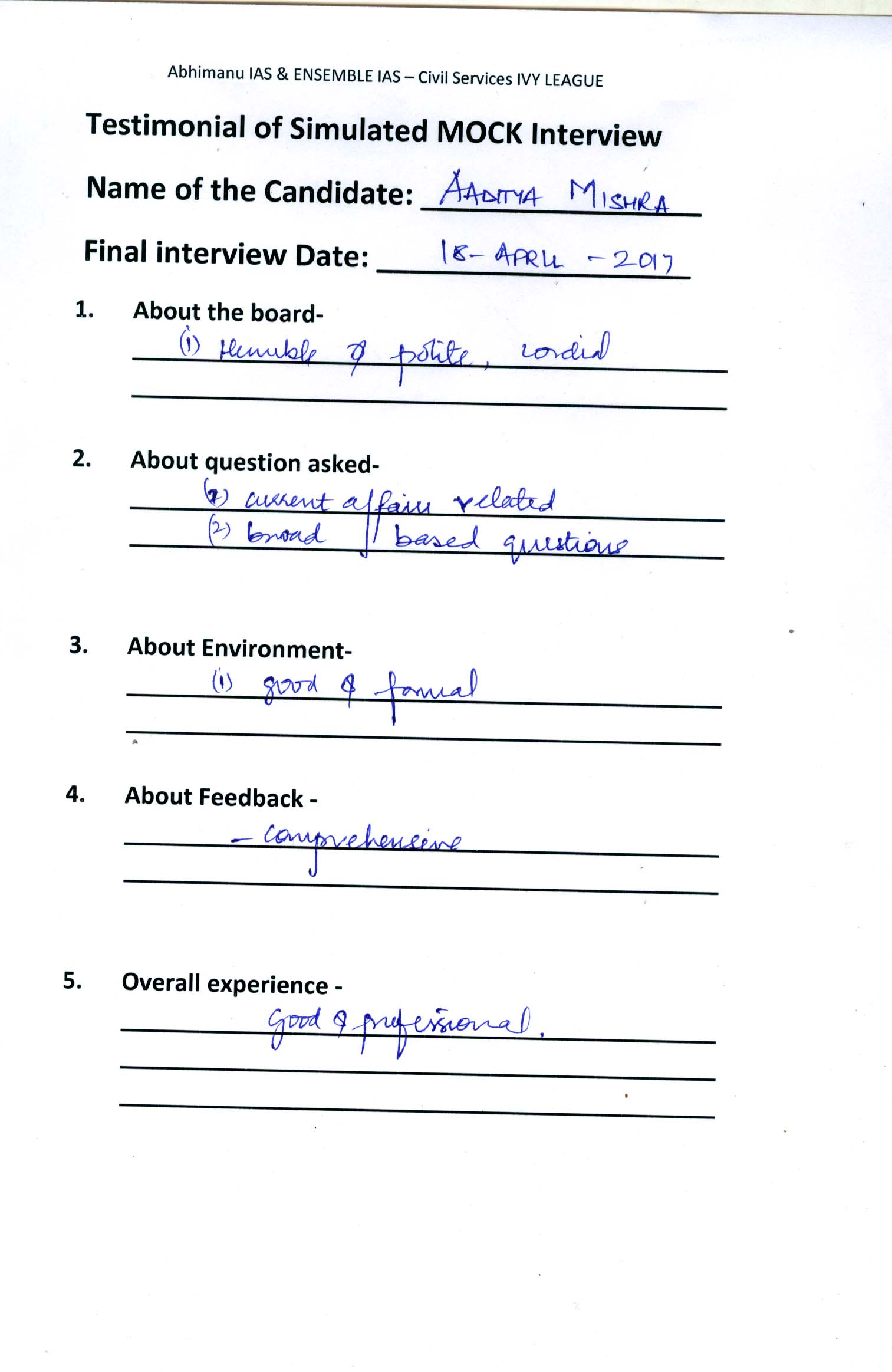 Interview Testimonial By- Additya Mishra