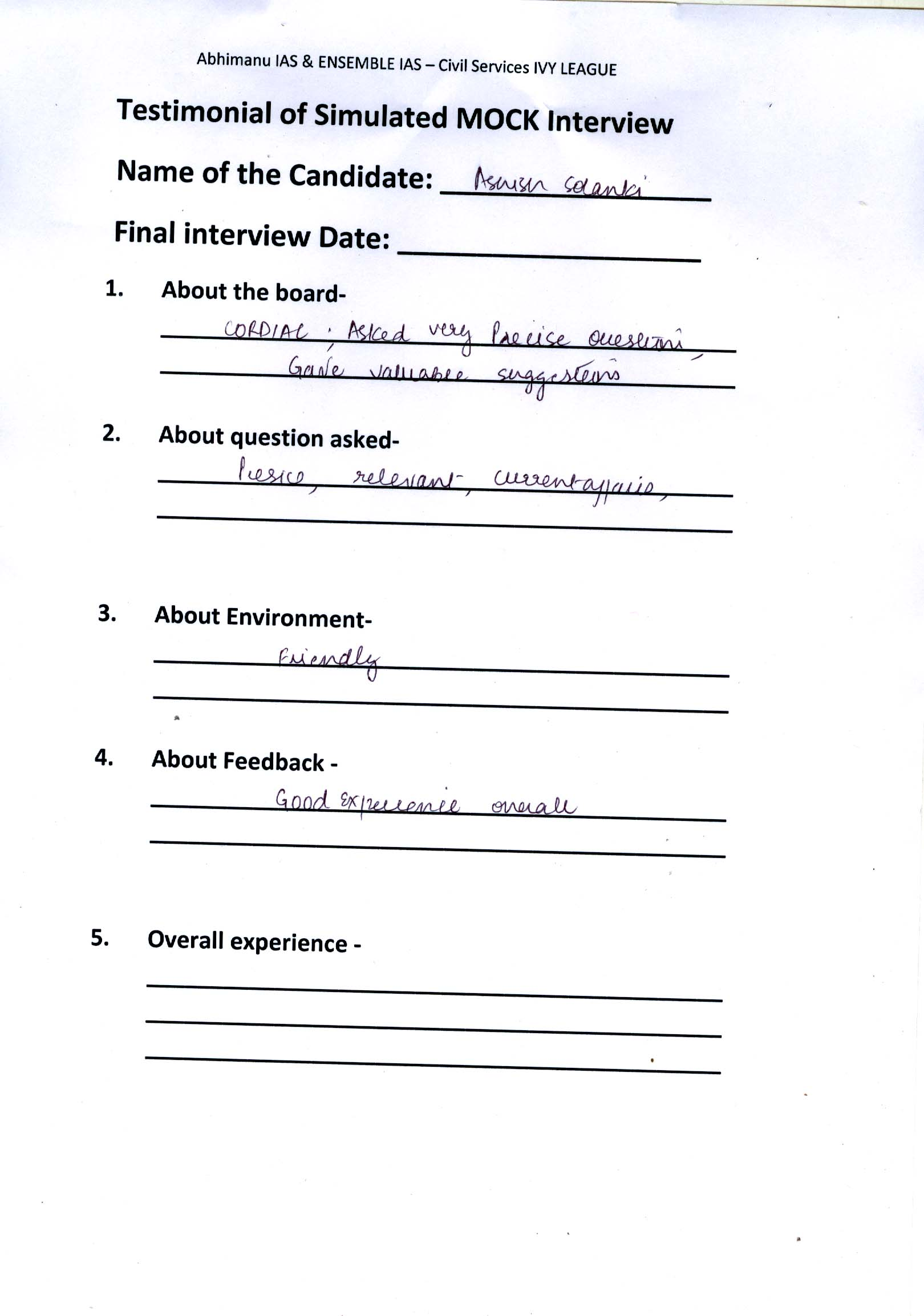 Interview Testimonial By- Ashish Solanki