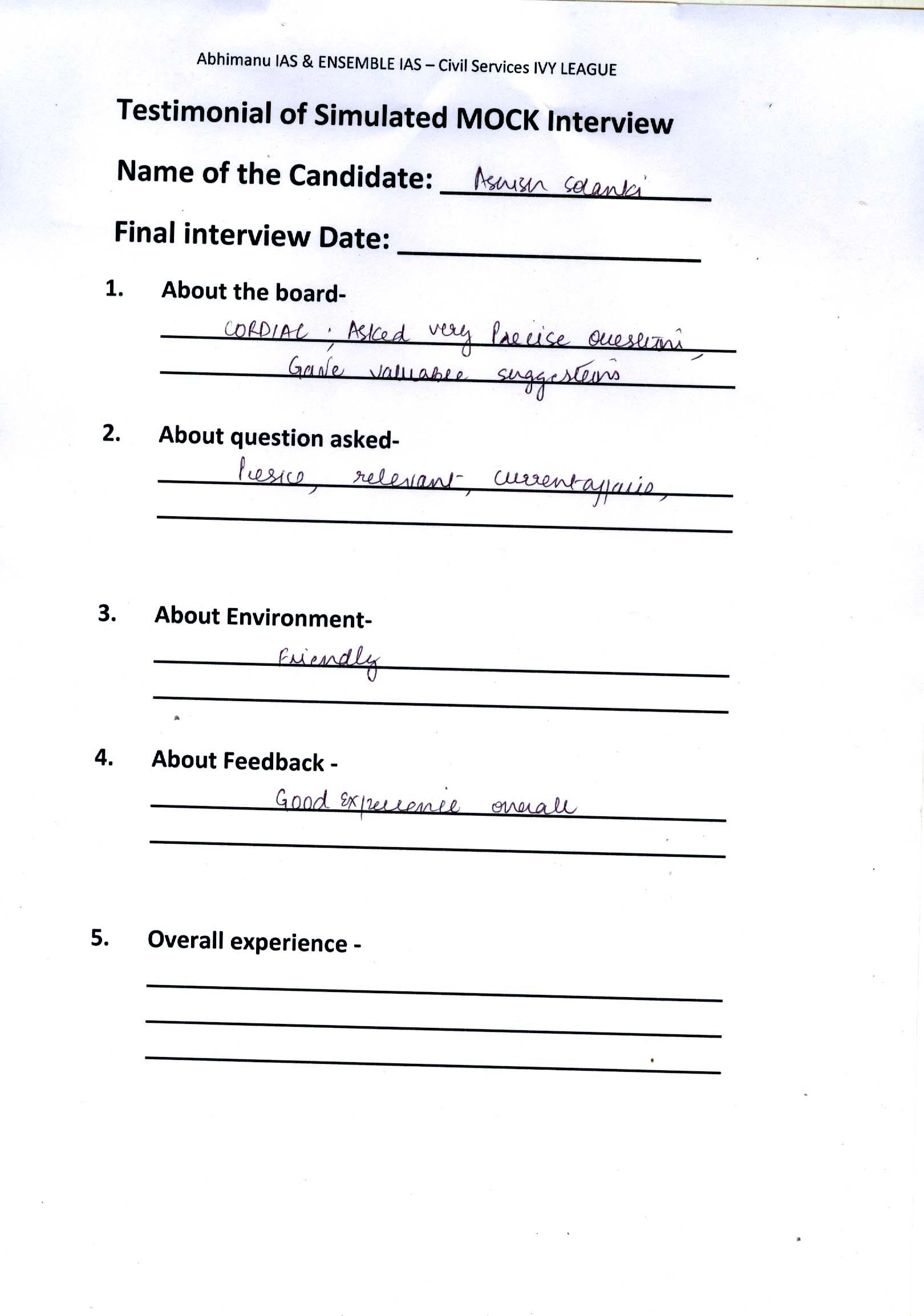 Interview Testimonial By- Ashish Solanki