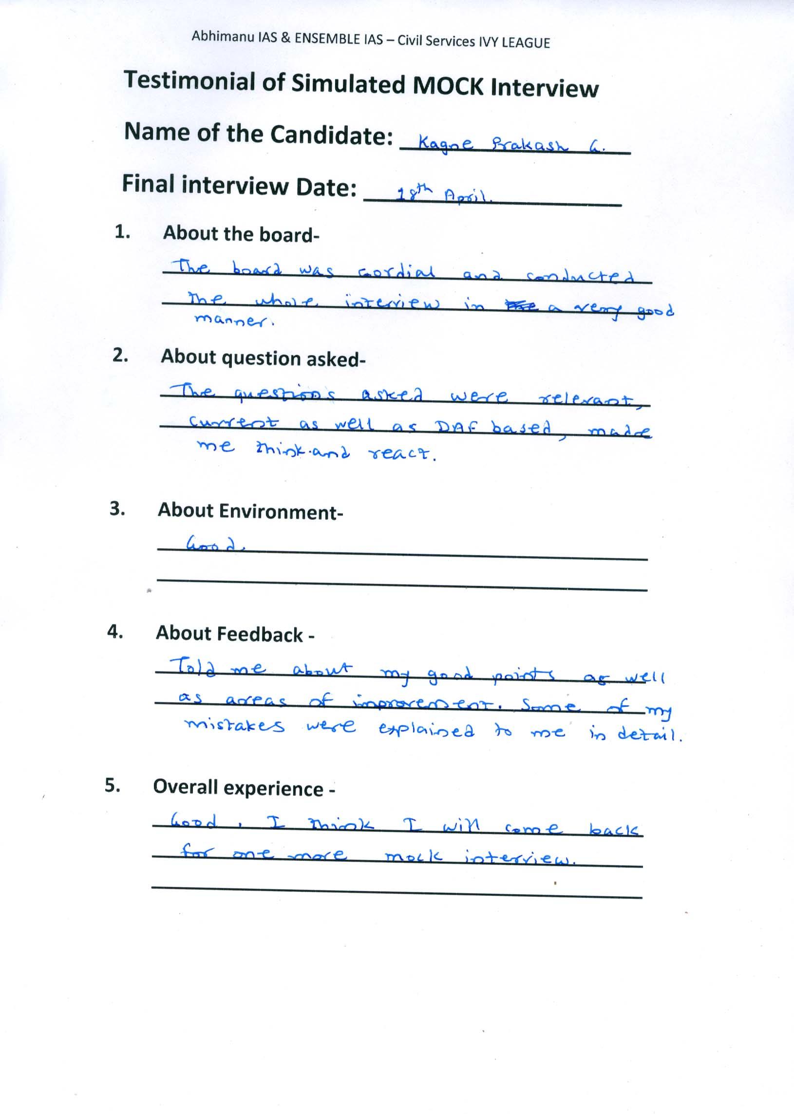 Interview Testimonial By- Kagne Prakash