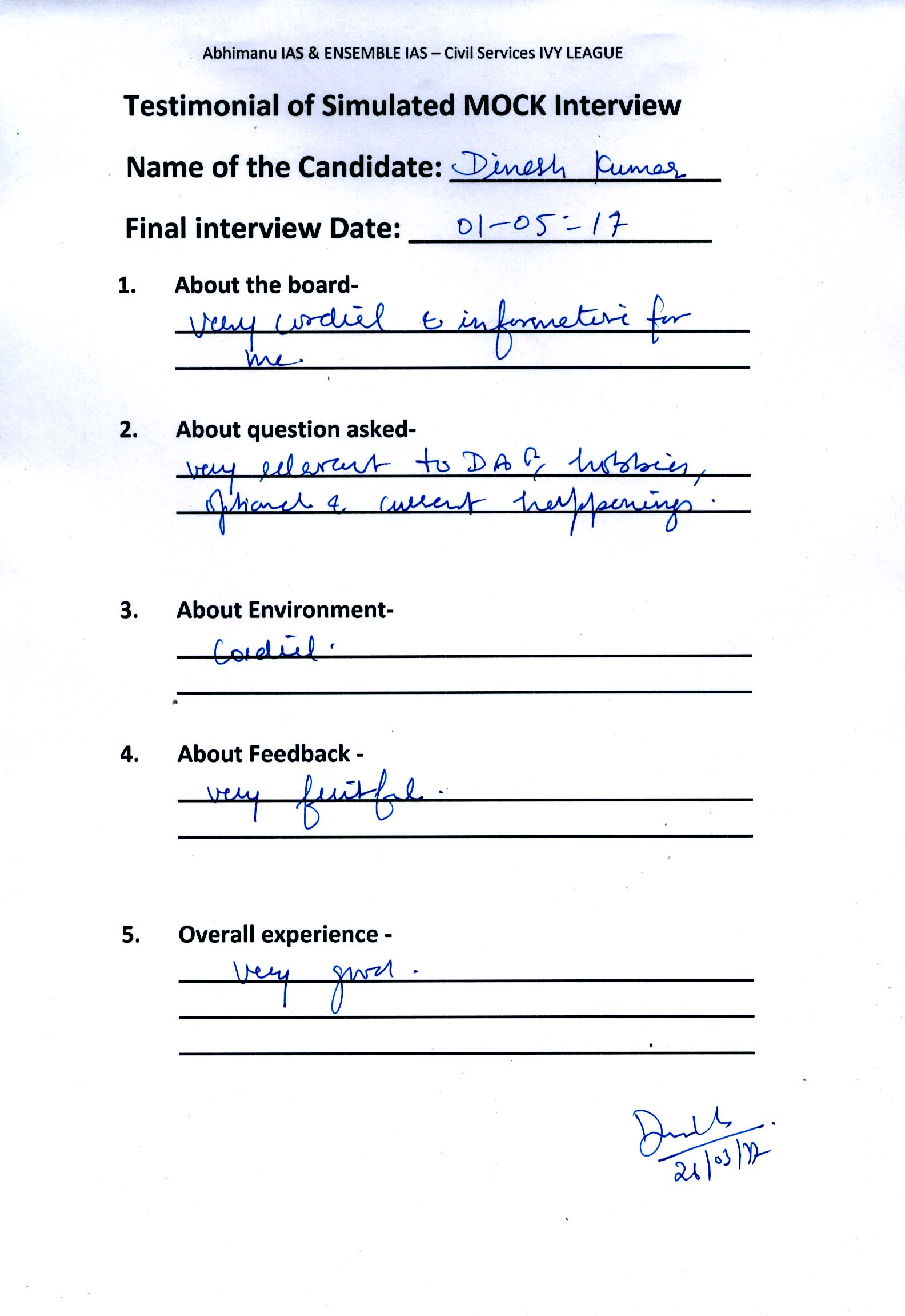 Interview Testimonial By- Dinesh Kumar
