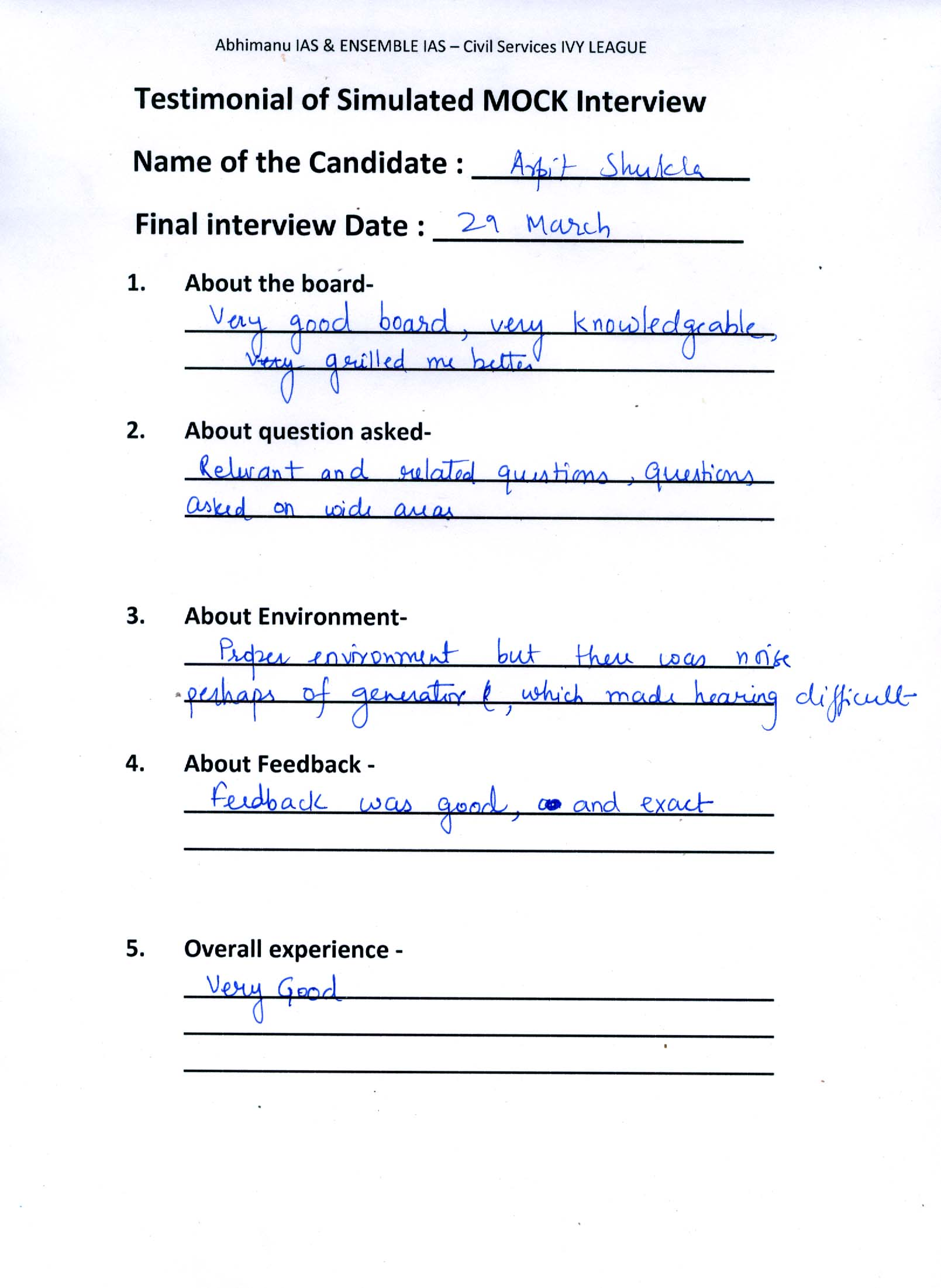 Interview Testimonial By- Arpit shukla