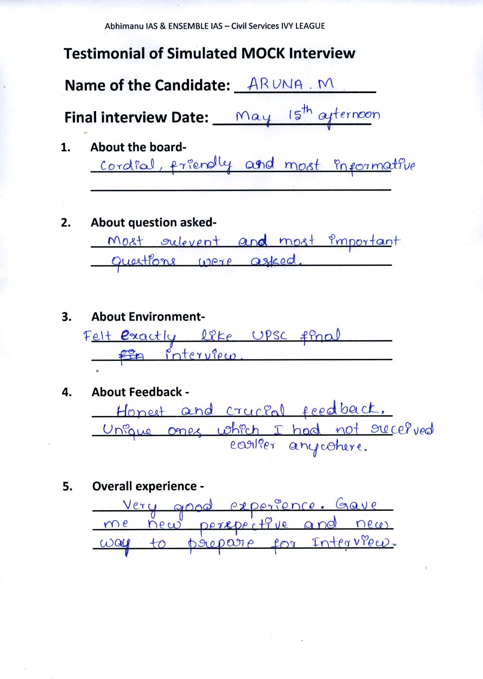 Interview Testimonial By- Aruna