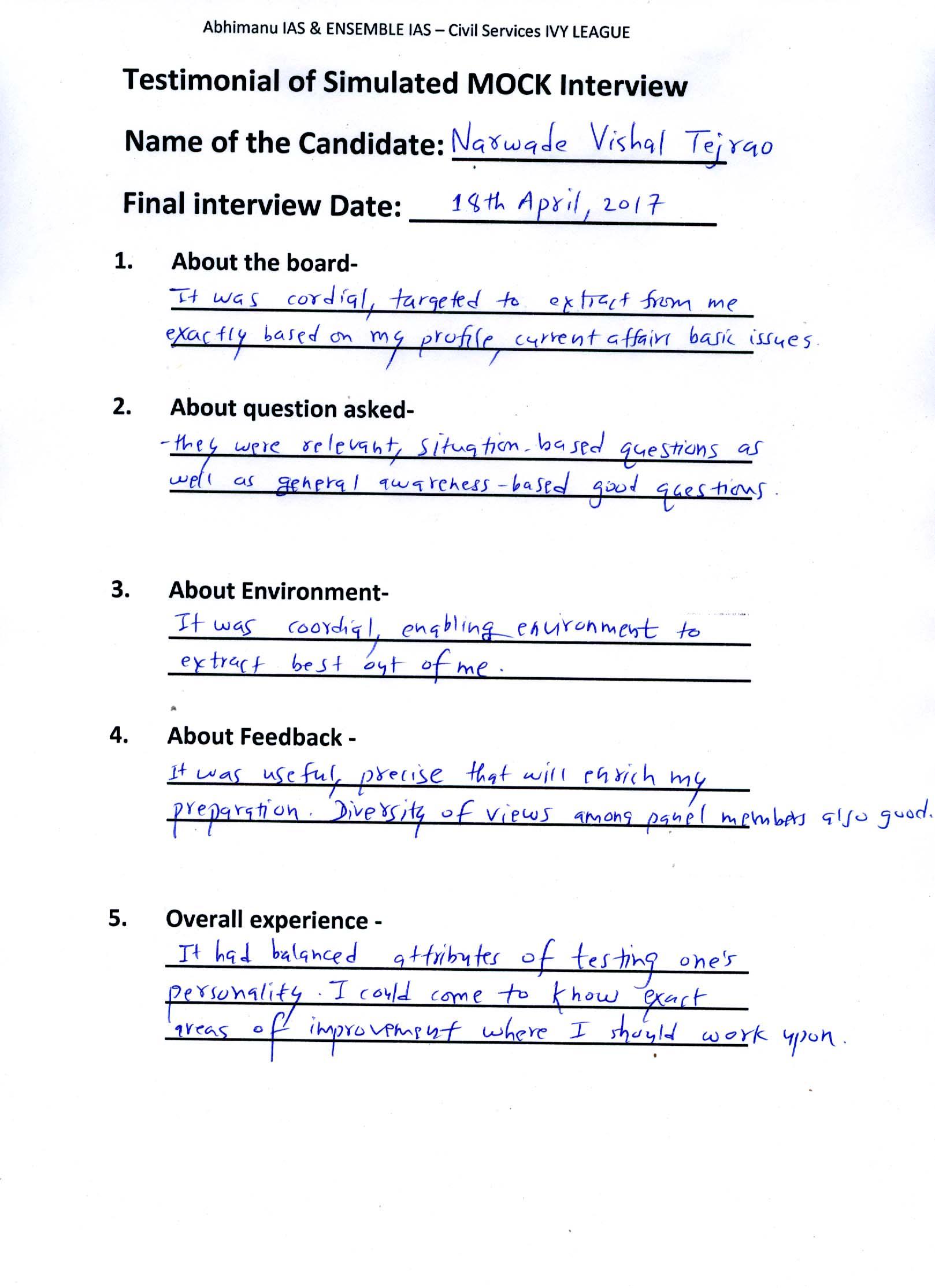 Interview Testimonial By- Narwade Vishal