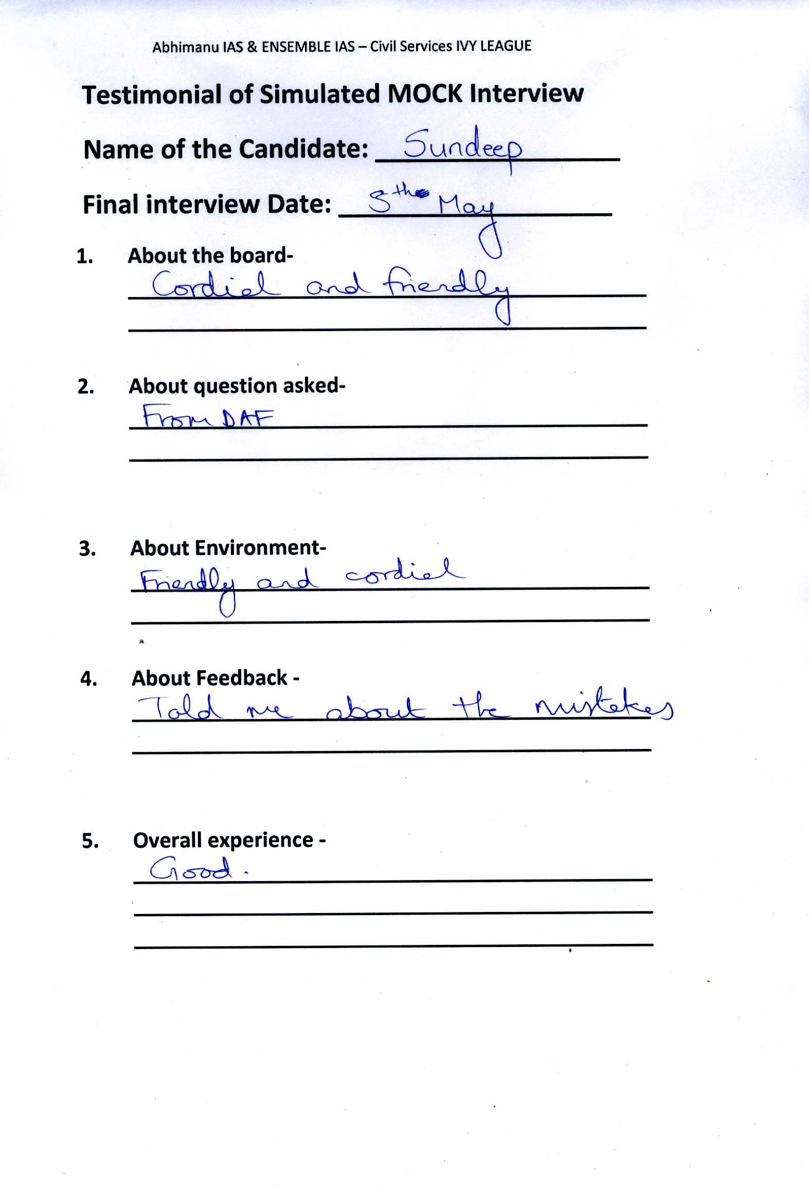 Interview Testimonial By- Sundeep