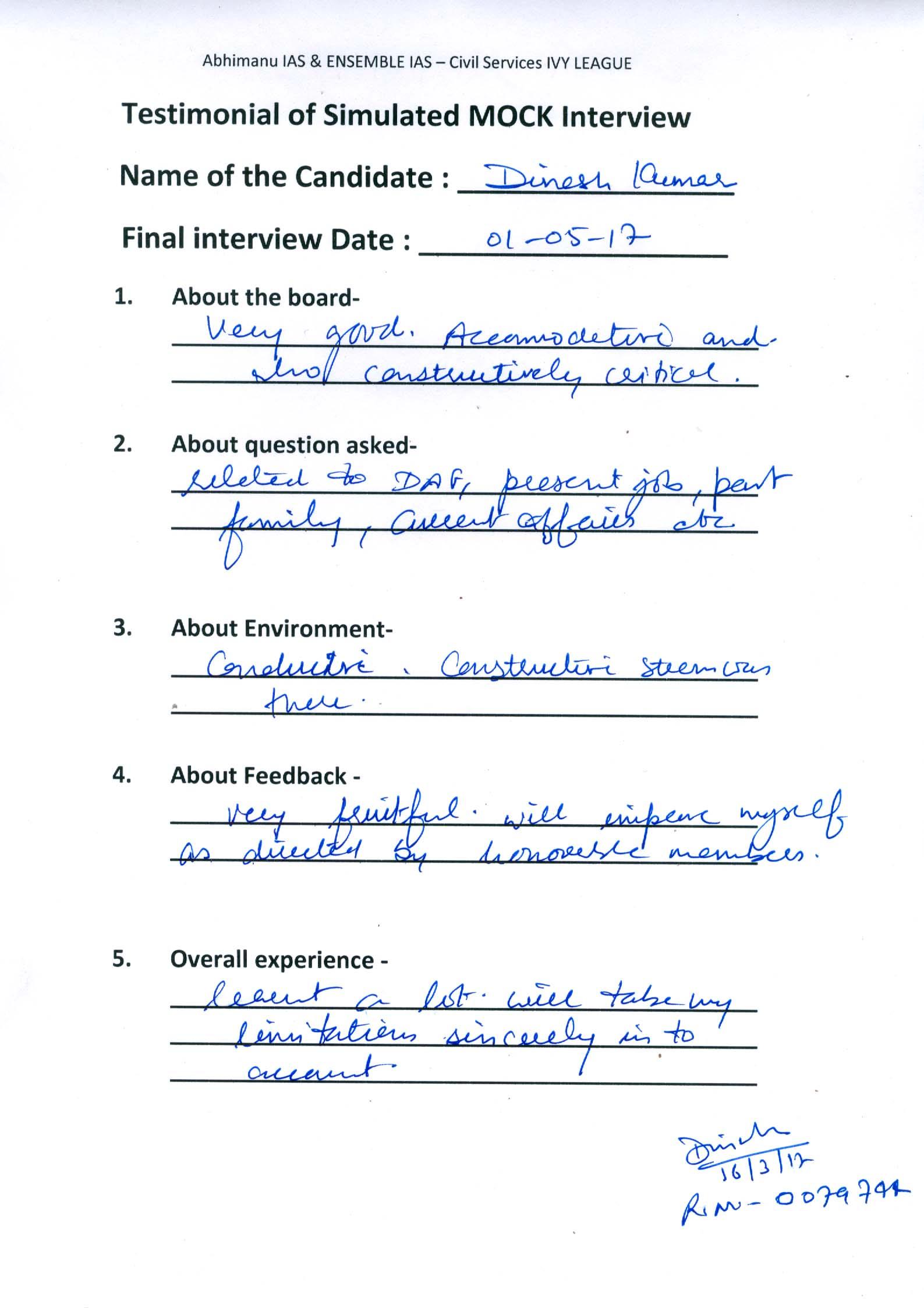 Interview Testimonial By- Dinesh Kumar