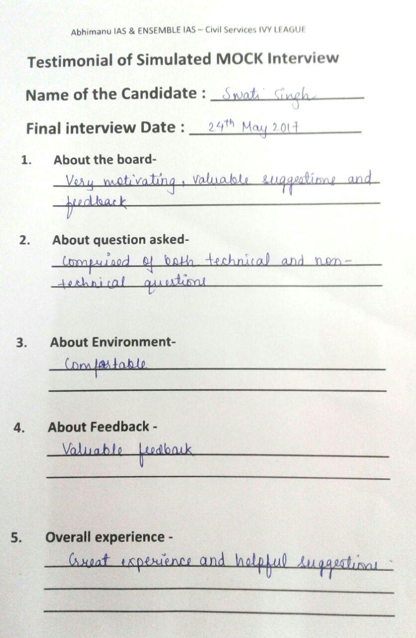 Interview Testimonial By- Swati Singh