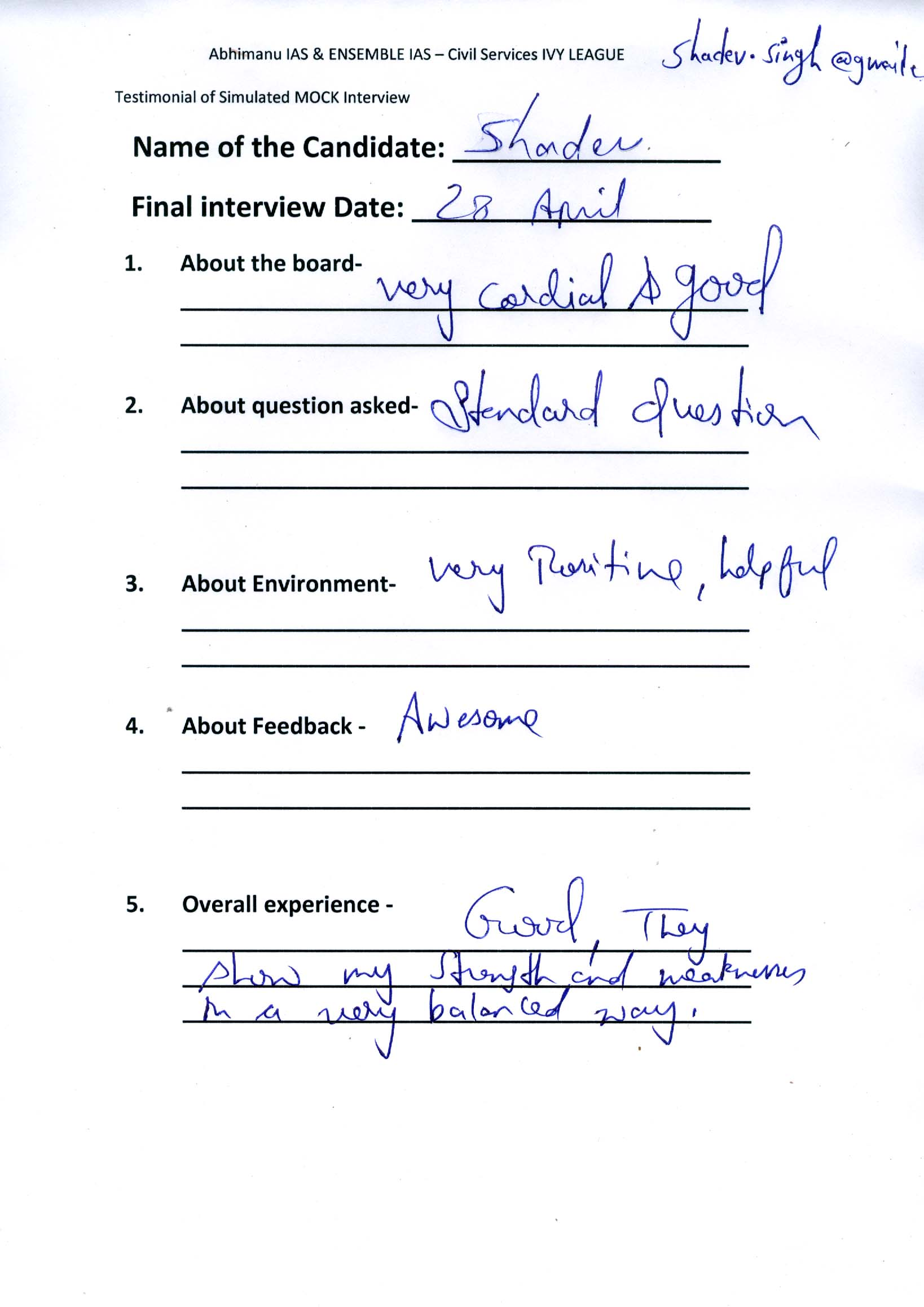 Interview Testimonial By- Shadev