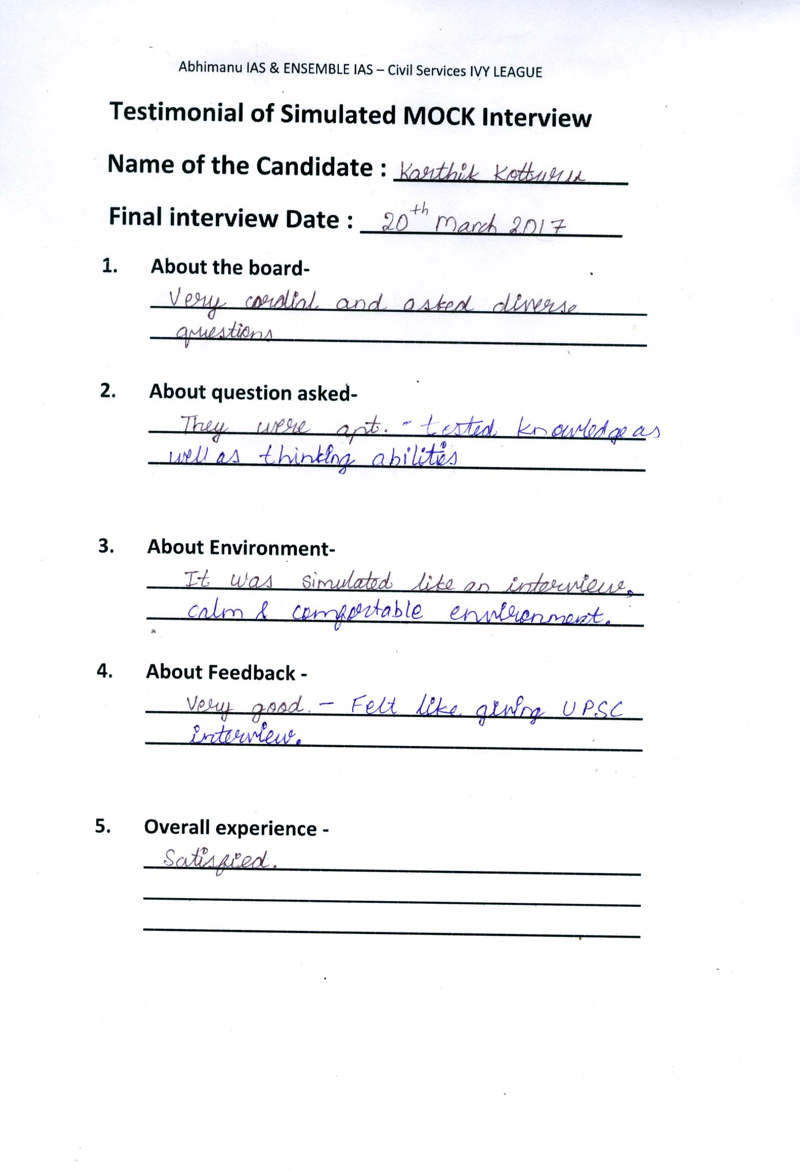 Interview Testimonial By- Karthik Kottoru
