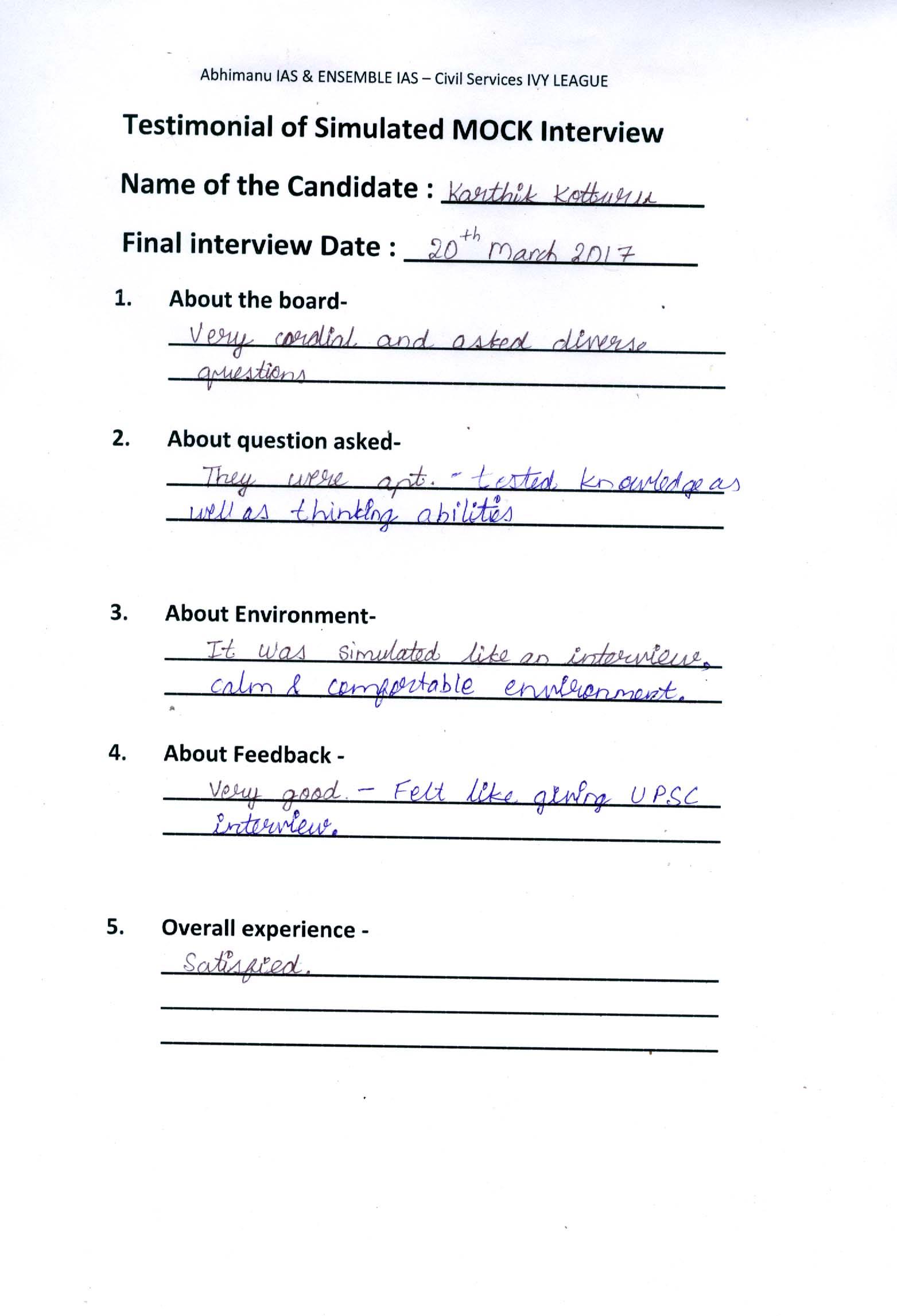 Interview Testimonial By- Karthik Kottoru