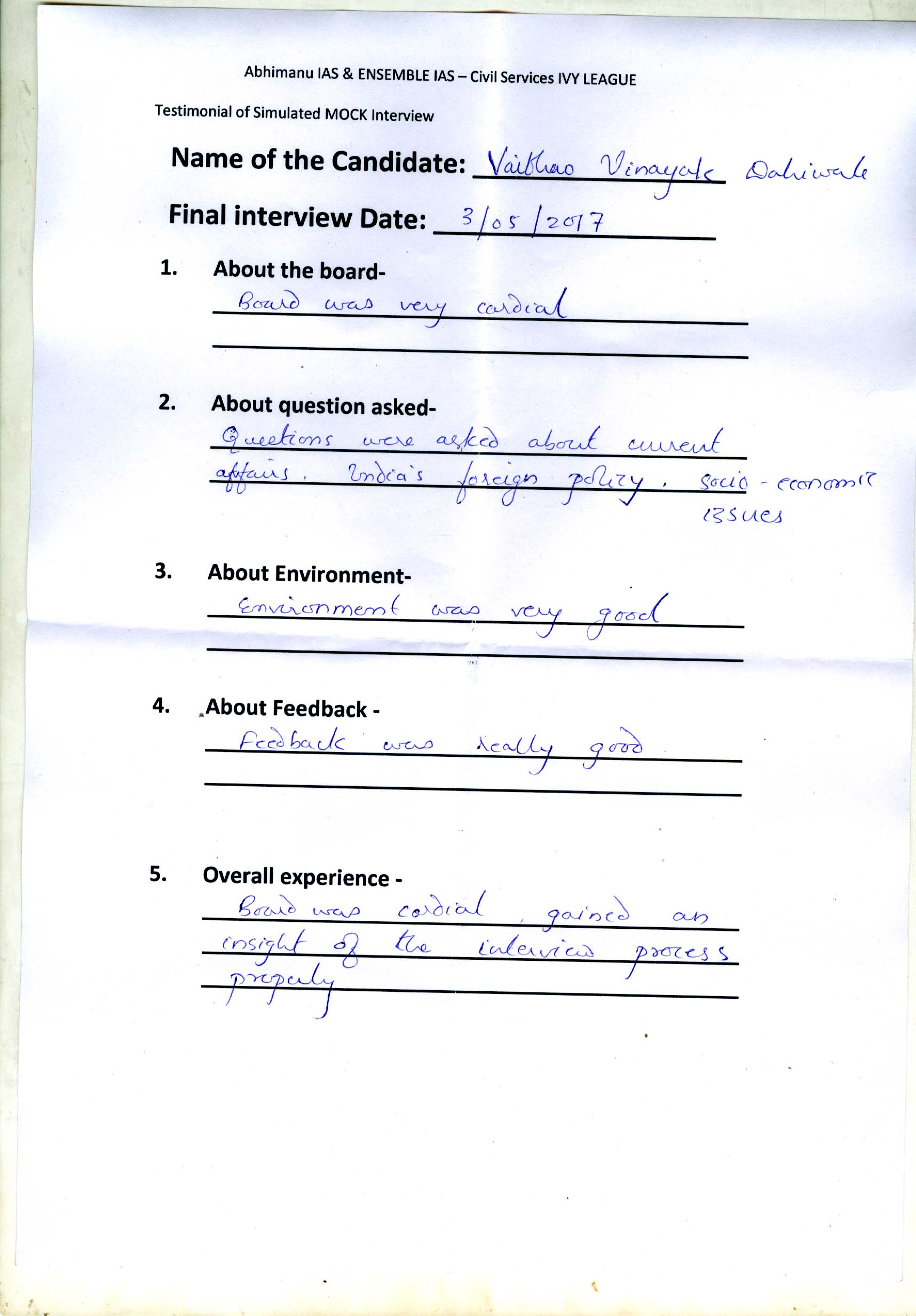 Interview Testimonial By- Dahiwale Vaibhavo