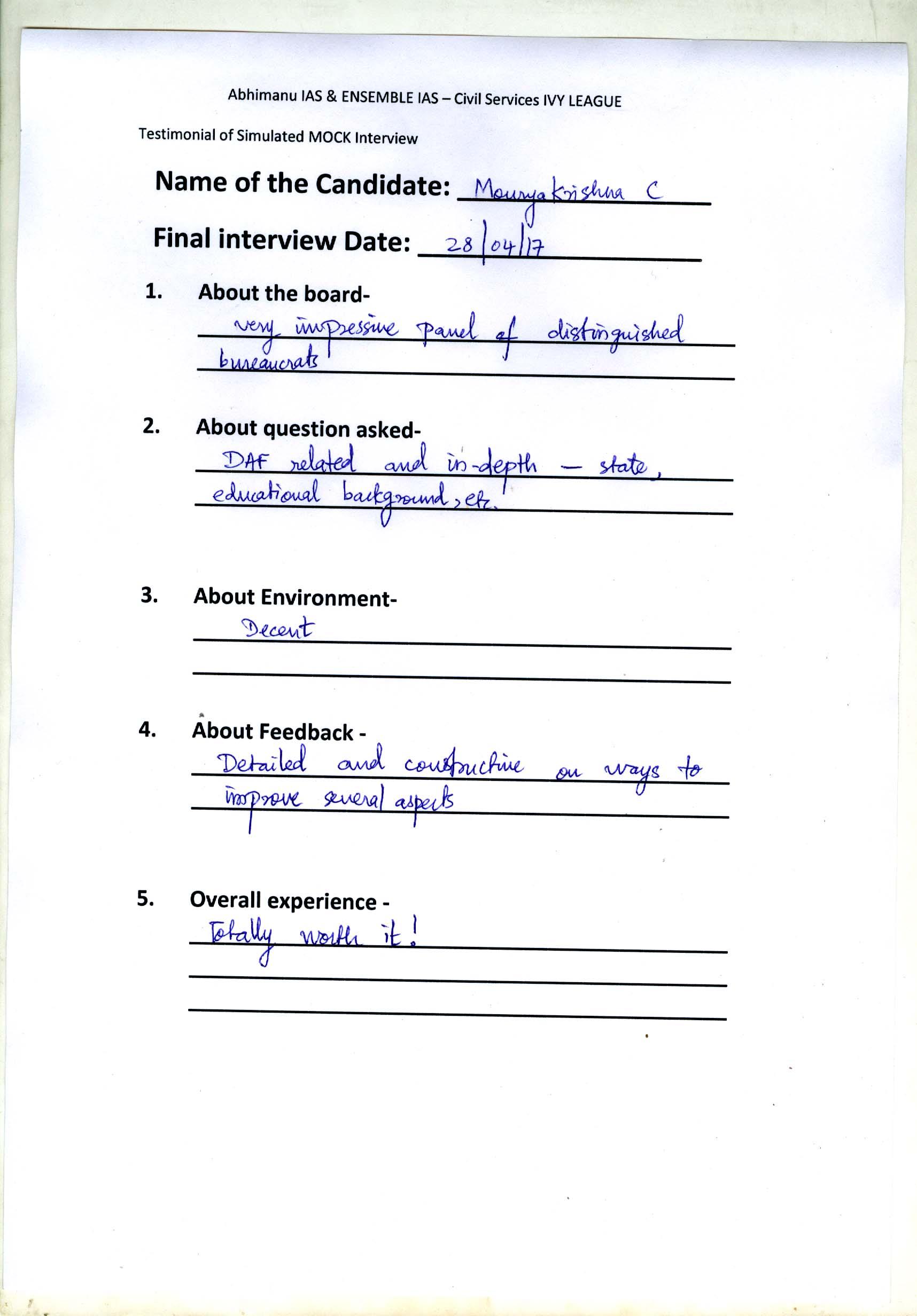 Interview Testimonial By- Maurya Krishna