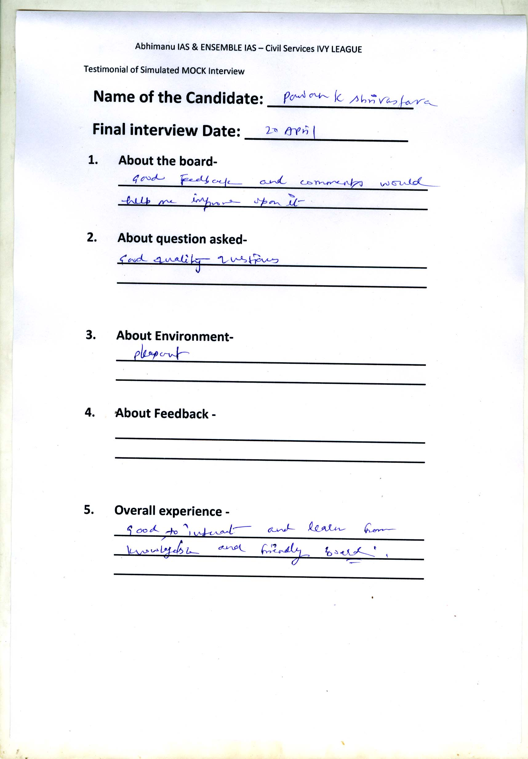 Interview Testimonial By- Pawan Kumar