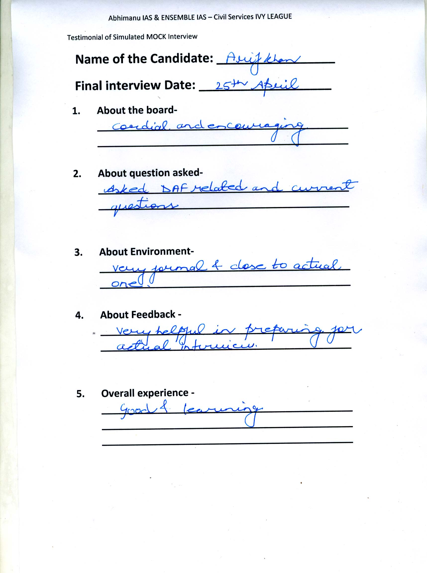 Interview Testimonial By- Arif Khan