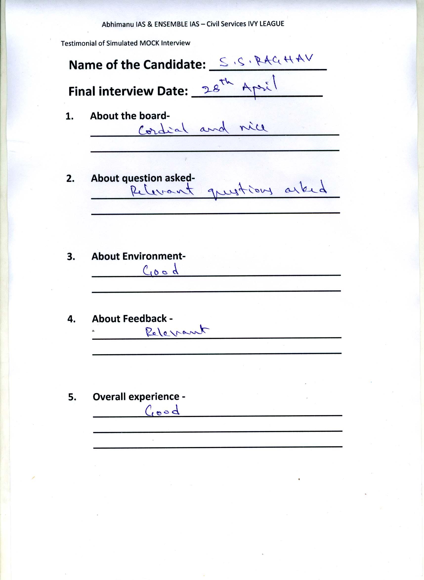 Interview Testimonial By- S.S. Raghav