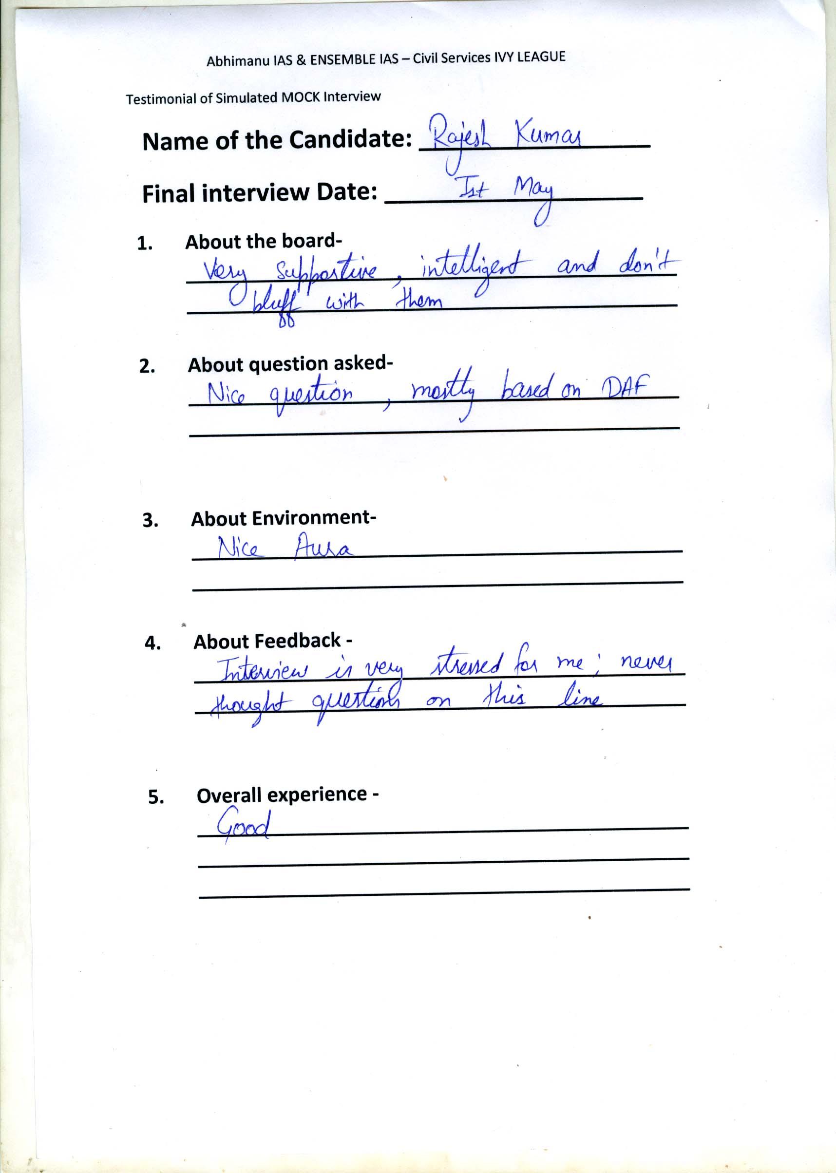 Interview Testimonial By- Rajesh Kumar