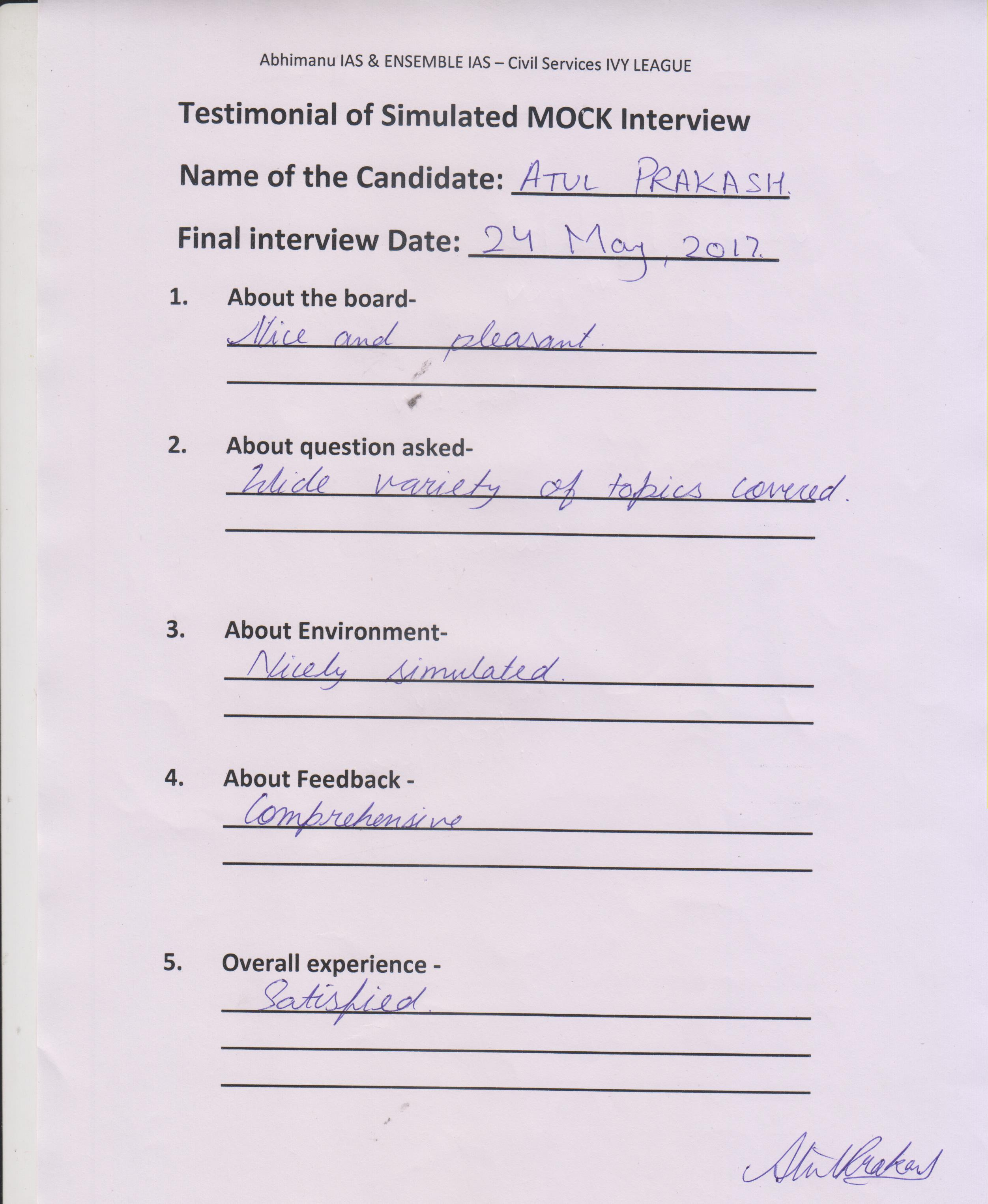 Interview Testimonial By- Atul Prakash