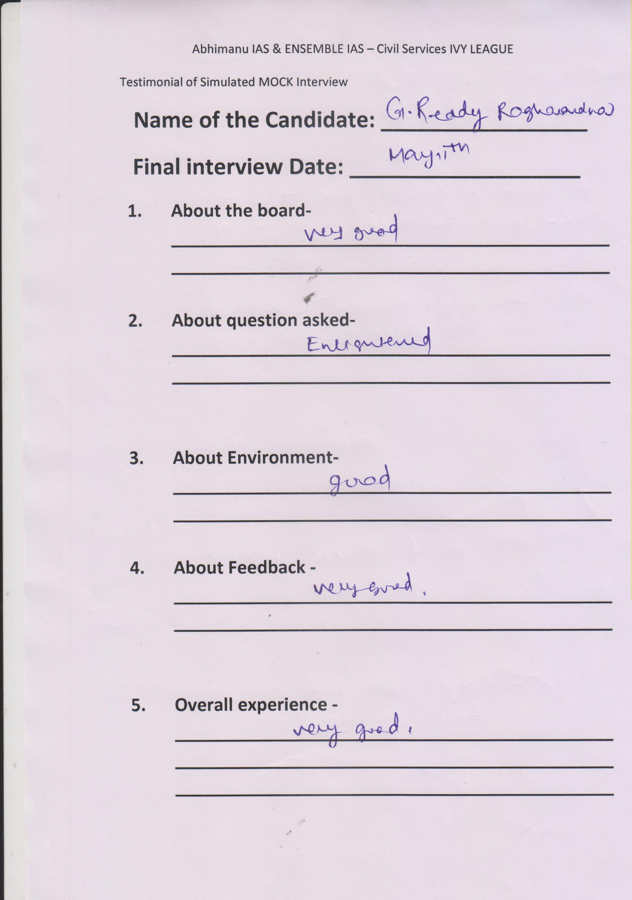 Interview Testimonial By- G. Reddy
