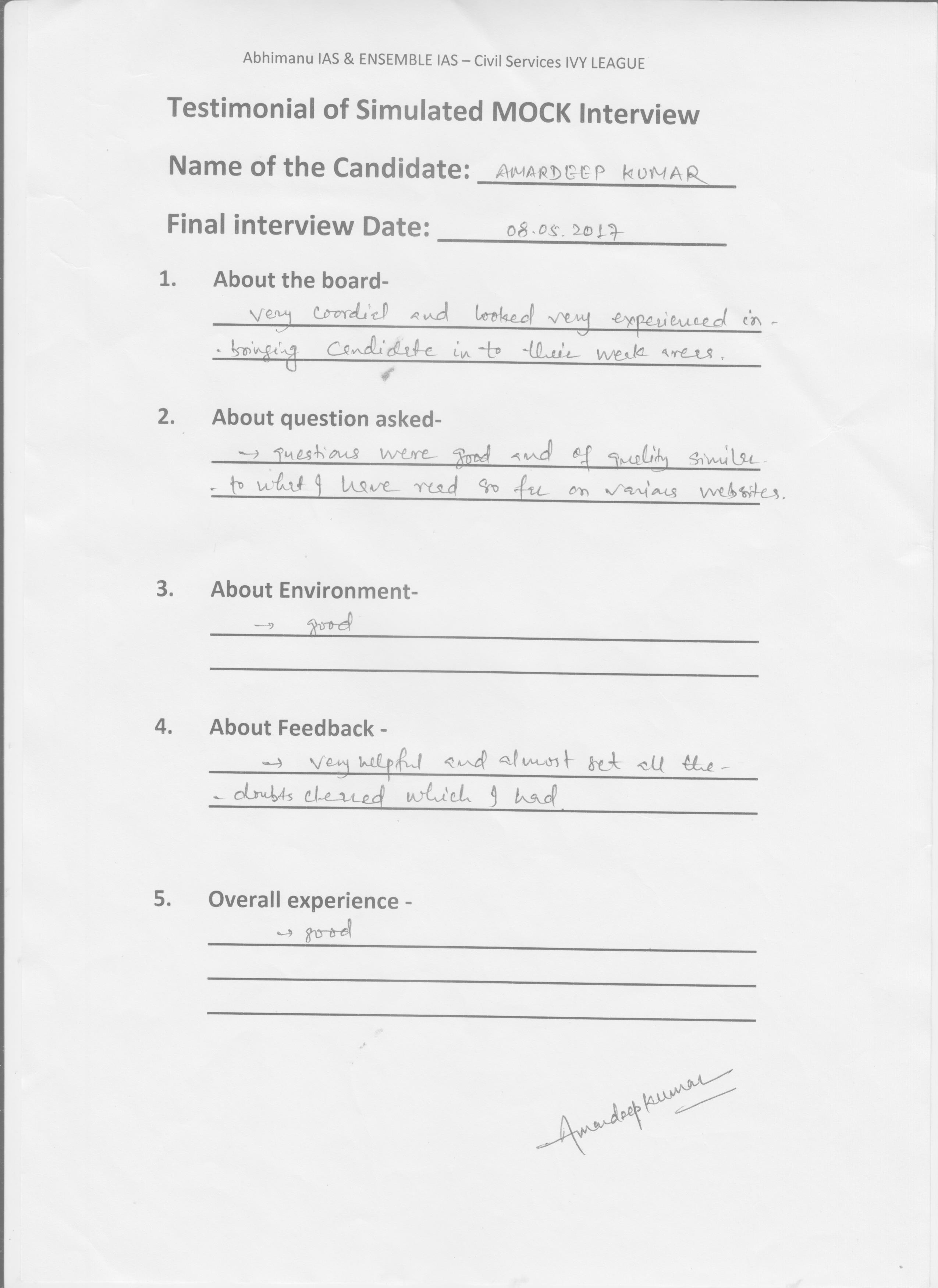 Interview Testimonial By- Amardeep
