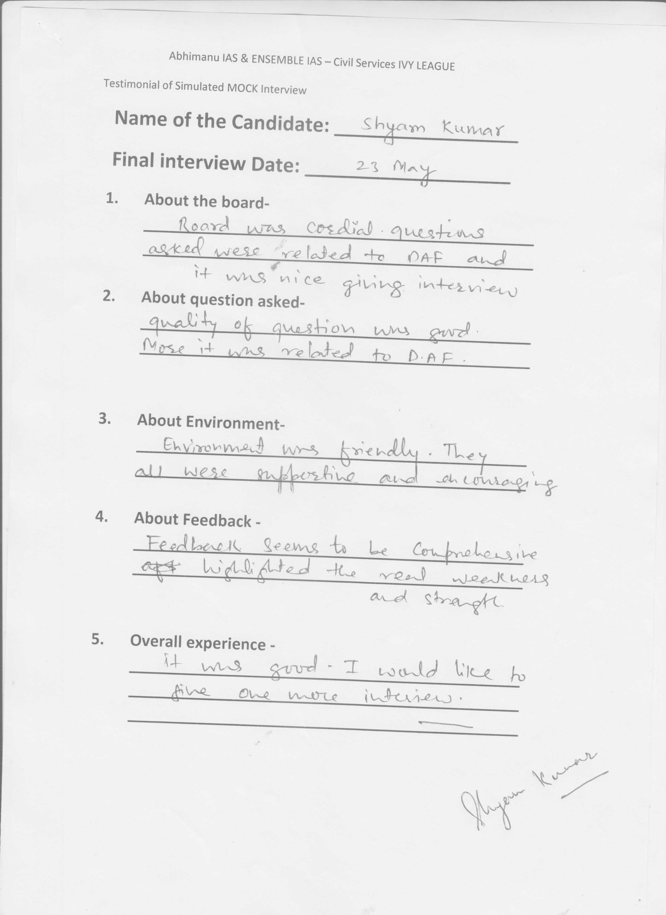 Interview Testimonial By- Shyam Kumar